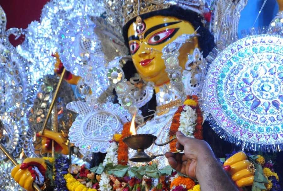 Kolkata: An idol of Goddess Durga at a Salt Lake pandal in Kolkata on Sept 28, 2017. (Photo: Kuntal Chakrabarty/IANS) by .