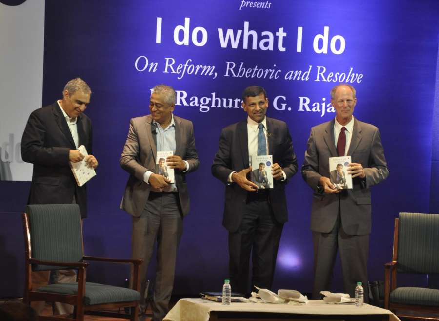 """New Delhi: Former RBI Governor Raghuram Rajan during the release of his book """"I do what I do"""" in New Delhi on Sept 7, 2017. (Photo: IANS) by ."""