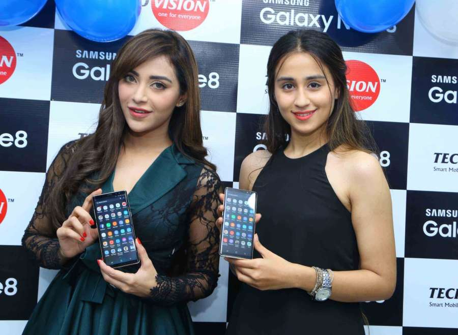 Hyderabad: Actresses Angela Krislinzk and Simrath during the launch of Samsung Galaxy Note8 smartphone in Hyderabad on Sept 21, 2017. (Photo: IANS) by .