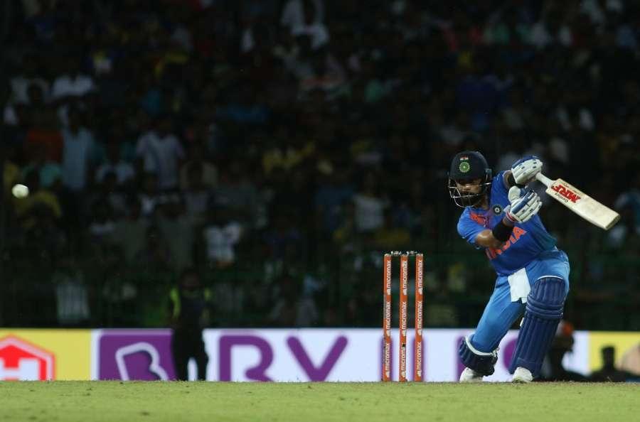 Colombo: Indian skipper Virat Kohli addresses during the T20I match between India and Sri Lanka at R.Premadasa Stadium in Colombo, Sri Lanka on Sept 6, 2017. (Photo: Surjeet Yadav/IANS) by .