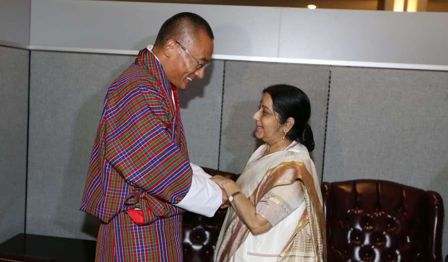 New York: External Affairs Minister Sushma Swaraj meets Bhutan's Prime Minister Tshering Tobgay on the sidelines of the United Nations General Assembly (UNGA) at the United Nations headquarters in New York on Sept. 18, 2017. (Photo: Mohammed Jaffer/IANS) by .