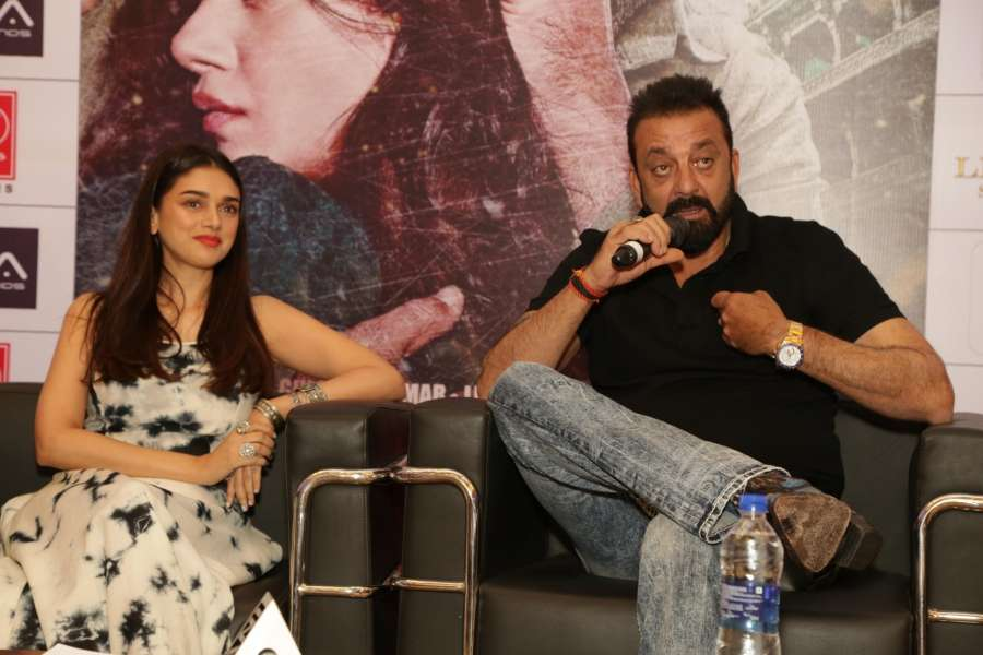 """New Delhi: Actors Sanjay Dutt and Aditi Rao Hydari during the promotion of their upcoming film """"Bhoomi"""" in New Delhi on Sept 16, 2017. (Photo: Amlan Paliwal/IANS) by ."""
