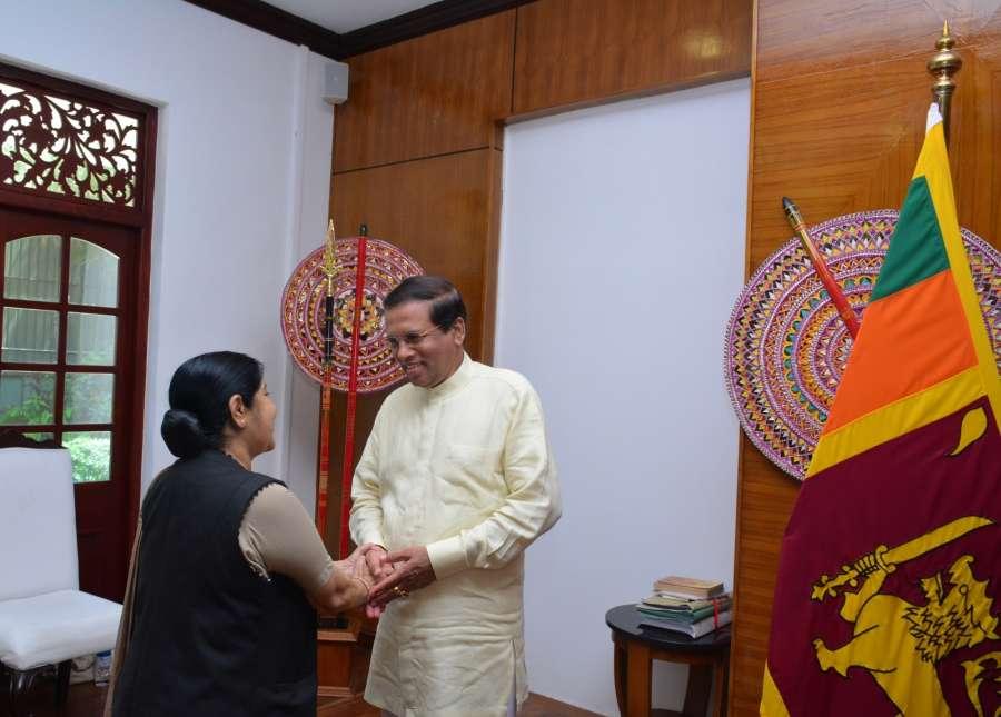 Colombo: External Affairs Minister Sushma Swaraj calls on Sri Lankan President Maithripala Sirisena in Colombo on Sept 1, 2017. (Photo: IANS/MEA) by .