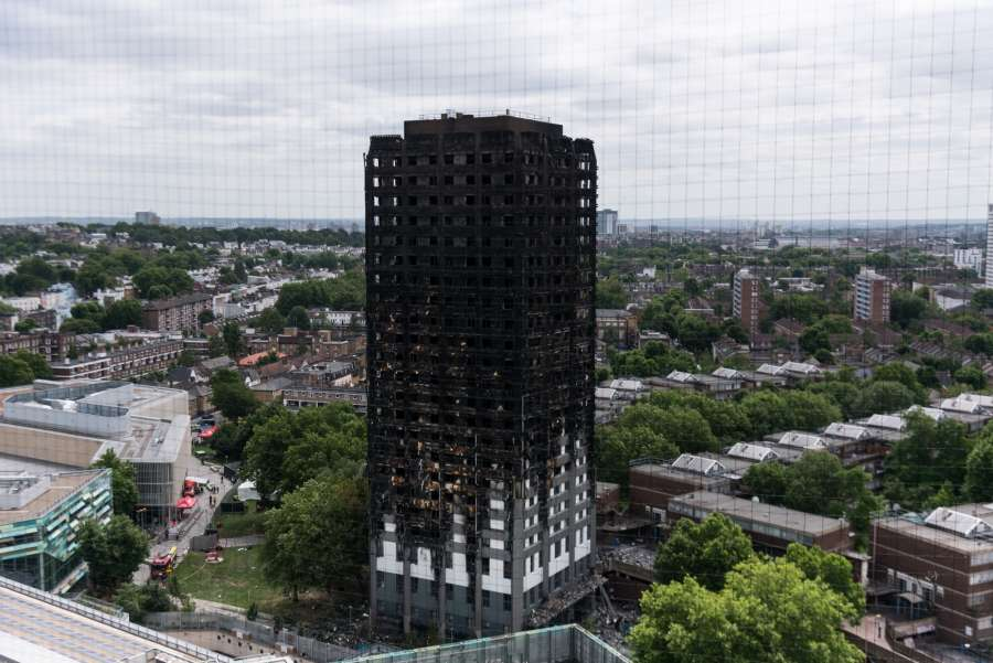 LONDON, June 16, 2017 (Xinhua) -- Photo taken on June 16, 2017 shows a view of Grenfell Tower after the fire in London, Britain. London's Metropolitan Police confirmed Friday that at least 30 people died in this week's fire which swept through a residential tower block in west London. Although police did not speculate on the eventual number of fatalities, local community sources say at least 70 from Grenfell Tower are still missing, including entire families. (Xinhua/Ray Tang/IANS) by .