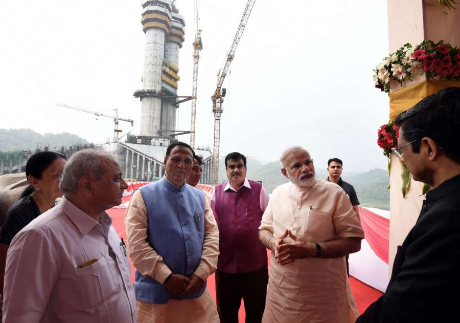 Gujarat: Prime Minister Narendra Modi overviews the construction work of Statue of Unity in Gujarat on Sept 17, 2017. (Photo: IANS/PIB) by .