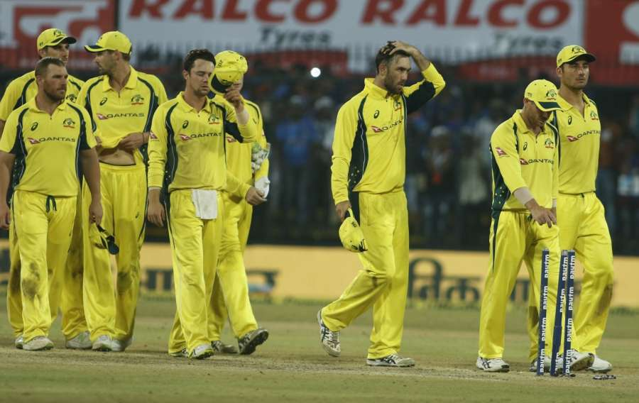 Indore: Australian cricketers during the third ODI cricket match between India and Australia at Holkar Cricket Stadium in Indore on Sept 24, 2017. (Photo: Surjeet Yadav/IANS) by .