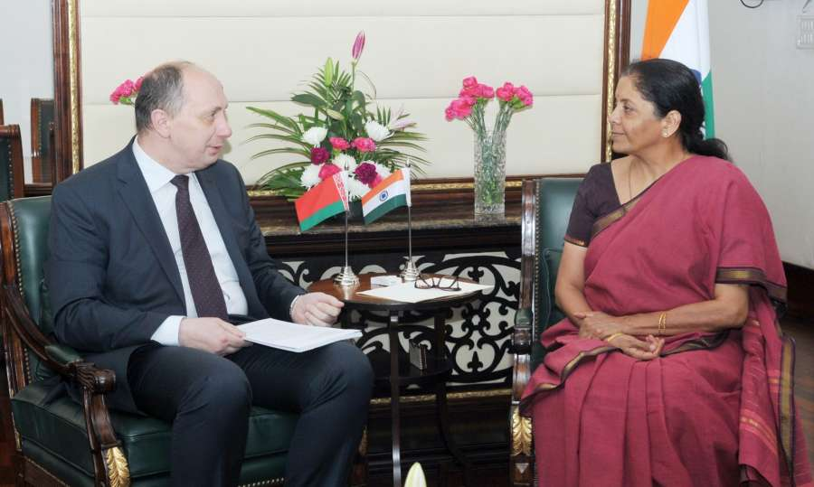 New Delhi: The Minister of Industry, Belarus, Mr. Vitaly Vovk meets the Minister of State for Commerce & Industry (Independent Charge) Nirmala Sitharaman, in New Delhi, on July 4, 2017. (Photo: IANS/PIB) by .