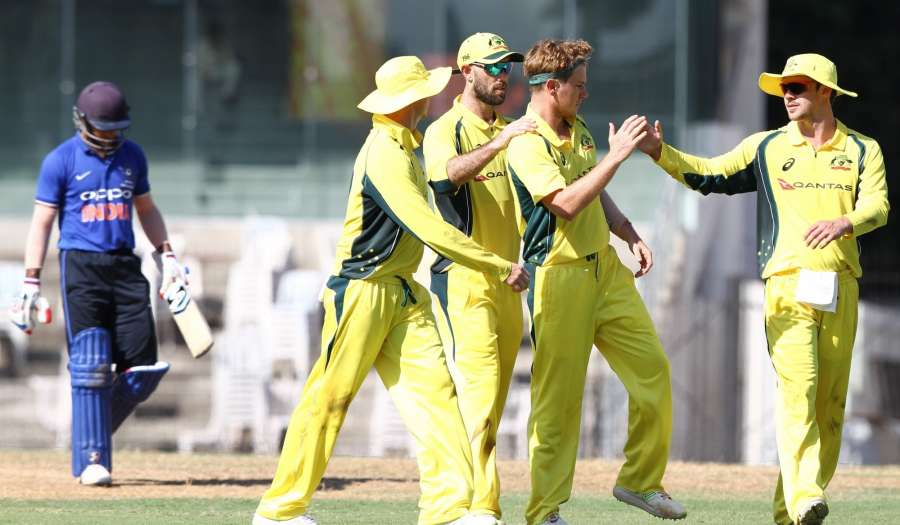 Chennai: Australian cricketers celebrate fall of a wicket during a warm-up match between India Board President's XI and Australia at MA Chidambaram Stadium in Chennai on Sept 12, 2017. (Photo: IANS) by .
