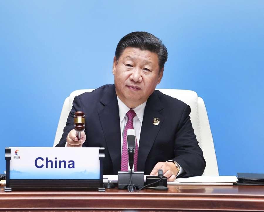 XIAMEN, Sept. 4, 2017 (Xinhua) -- Chinese President Xi Jinping declares the opening of the ninth BRICS summit in Xiamen, southeast China's Fujian Province, Sept. 4, 2017. (Xinhua/Xie Huanchi/IANS) by .