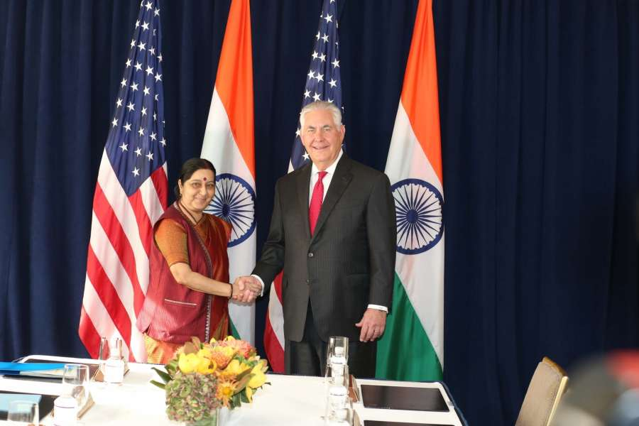 New York: External Affairs Minister Sushma Swaraj meets US Secretary of State Rex Tillerson on the sidelines of the United Nations General Assembly in New York on Sept 22, 2017. (Photo: Mohammed Jaffer/IANS) by .