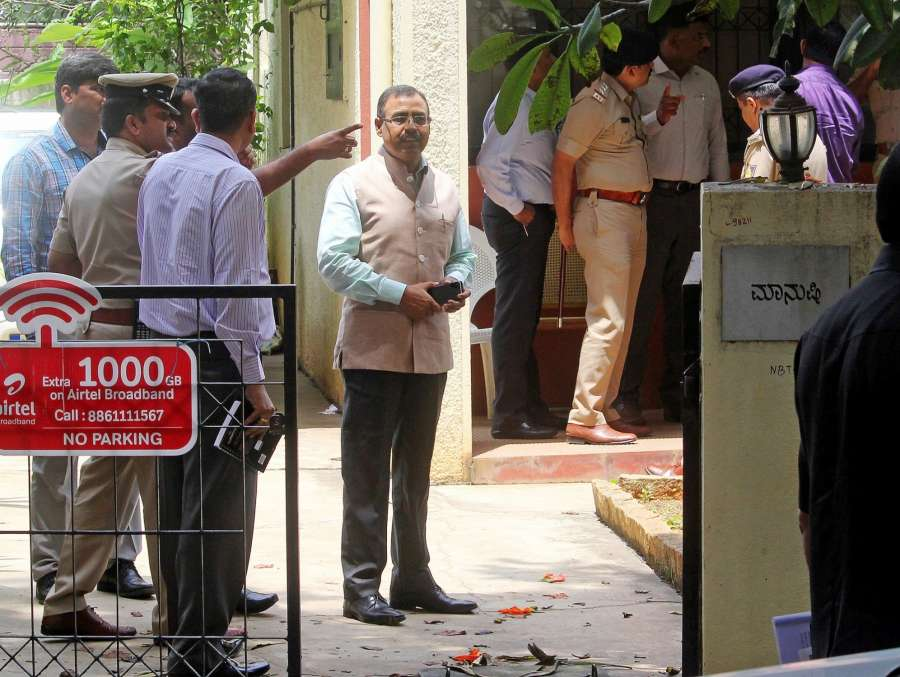 Bengaluru: Members of the Special Investigation Team (SIT) carry out investigation at activist and senior journalist Gauri Lankesh's residence where she was found murdered, in Bengaluru on Sept 7, 2017. (Photo: IANS) by .