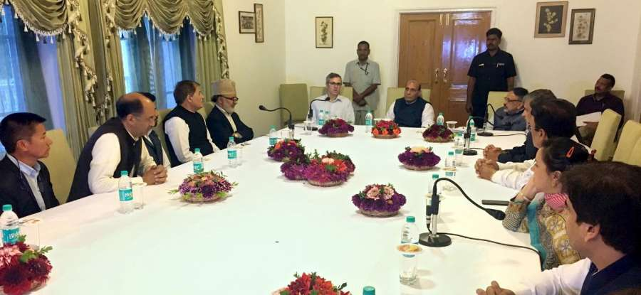 Srinagar: A delegation of Jammu and Kashmir People's Conference led by Working President Omar Abdullah calls on Union Home Minister Rajnath Singh in Srinagar on Sept 10, 2017. (Photo: IANS/PIB) by .