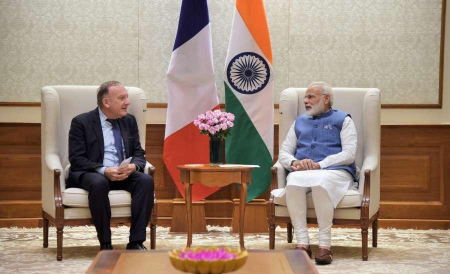 New Delhi: Pierre Gattaz, President of MEDEF (Mouvement des Entreprises de France) calls on the Prime Minister Narendra Modi, in New Delhi on Sept. 26, 2017. (Photo: IANS/PIB) by .