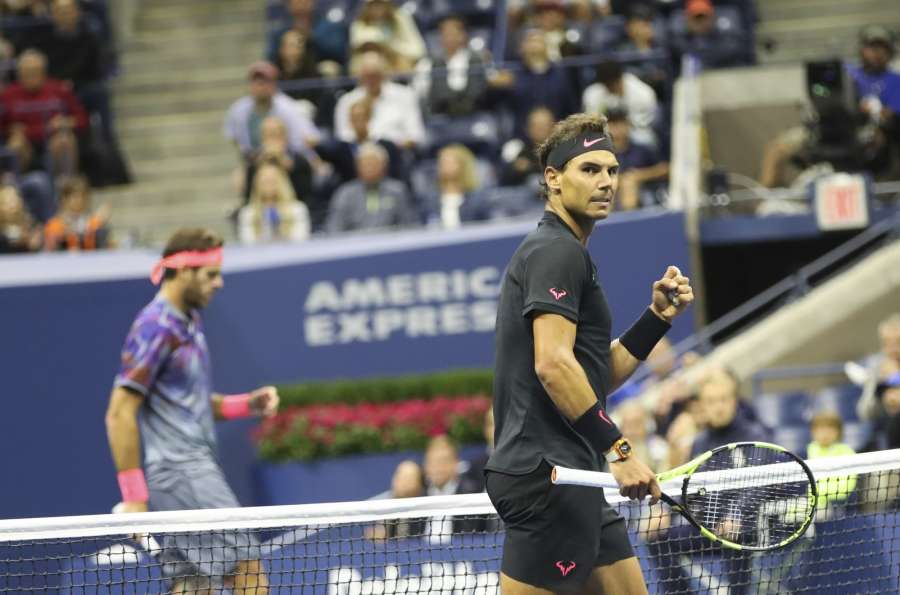 NEW YORK, Sept. 9, 2017 (Xinhua) -- Rafael Nadal of Spain celebrates during the men's singles semifinal match against Juan Martin del Potro of Argentinaat the 2017 U.S. Open in New York, the United States, Sept. 8, 2017. Rafael Nadal won 3-1 to enter the final. (Xinhua/Wang Ying/IANS) by .