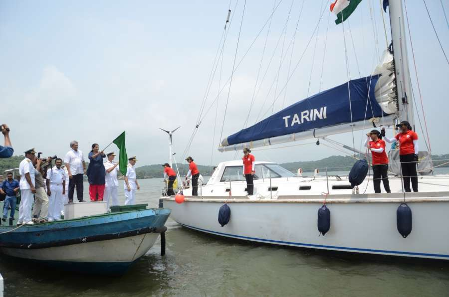 Panaji: Union Defence Minister Nirmala Sitharaman flags off the 'Navika Sagar Parikrama' - the global circumnavigation by an all-women Indian Navy crew at the INS Mandovi naval training base near Panaji. The crew has six members on board who will sail through INSV Tarini, a 55 foot vessel. Also seen Goa Chief Minister Manohar Parrikar, Chief of the Naval Staff Sunil Lamba and Vice Admiral Abhay Karve. (Photo: IANS) by .