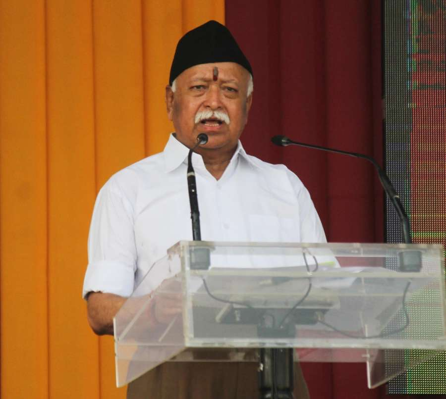 Nagpur: RSS chief Mohan Bhagwat addresses during a programme organised on Vijaya Dashmi at RSS Headquarters in Nagpur, on Sept 30, 2017. (Photo: IANS) by .
