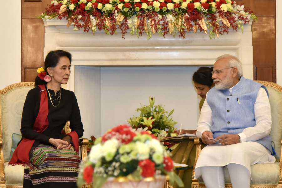 New Delhi: Prime Minister Narendra Modi during a meeting with Myanmar State Counsellor Aung San Suu Kyi at Hyderabad House, in New Delhi on Oct 19, 2016. (Photo: IANS/PIB) by .