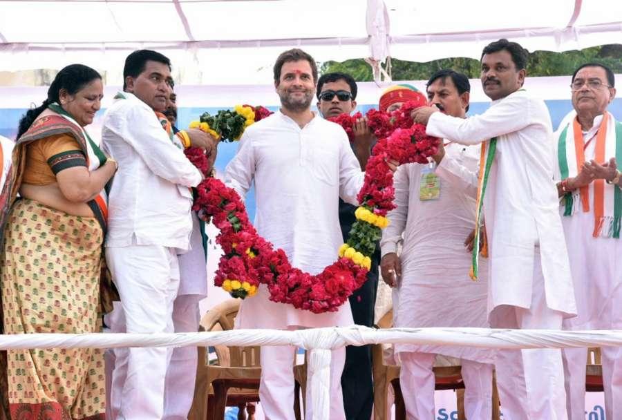 Dahod: Congress Vice President Rahul Gandhi during Yuva Rojgar Khedut Adhikar Navsarjan Yatra in Dahod, Gujarat on Oct 11, 2017. (Photo: IANS) by .