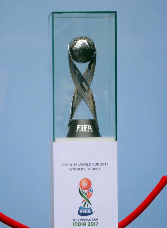 Mumbai: FIFA U-17 World Cup Trophy during the curtain raiser function of FIFA Under 17 World Cup 2017 at Dr DY Patil Stadium in Mumbai on Sept 6, 2017. (Photo: IANS) by .