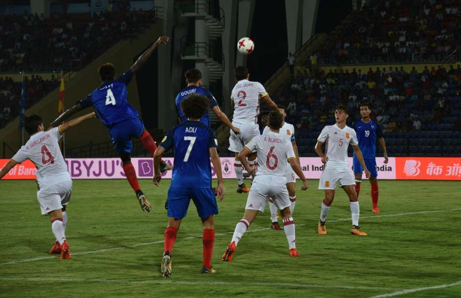 Guwahati: Players in action during a Round of 16 match of FIFA U-17 World Cup 2017 between France and Spain at Indira Gandhi Athletic Stadium in Guwahati on Oct 17, 2017. (Photo: IANS) by .