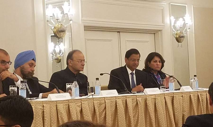 New York: Union Finance Minister Arun Jaitley at an investors roundtable jointly organised by the Confederation of Indian Industry and the US-India Business Council in New York on Oct 10, 2017. (Photo: Twitter/@ IndiainNewYork) by .