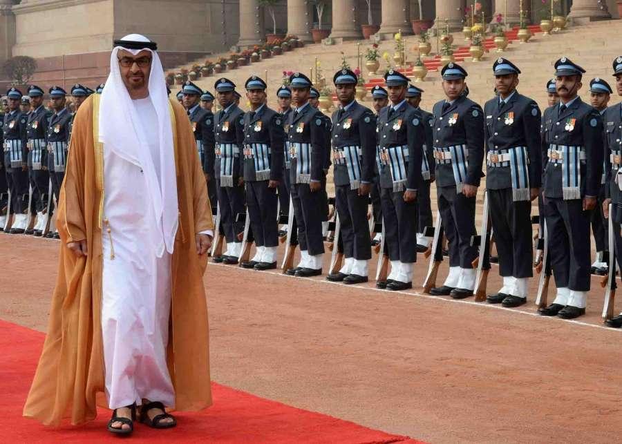 New Delhi: President Pranab Mukherjee, Prime Minister Narendra Modi receives General Sheikh Mohammed Bin Zayed Al Nahyan, Crown Prince of Adu Dhabiduring his ceremonial reception at Rashtrapati Bhavan on Jan 25, 2017. (Photo: IANS/RB) by .