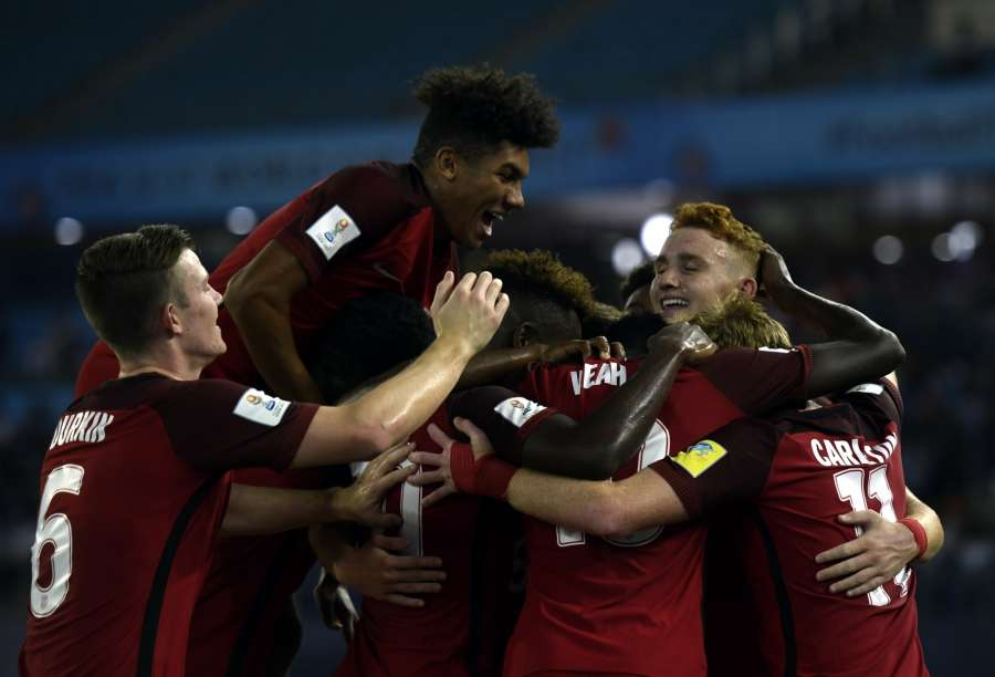 New Delhi: Josh Sargent of USA celebrates with team mates after scoring a goal during a FIFA U-17 World Cup 2017 Group A match between India and USA at Jawaharlal Nehru Stadium in New Delhi, on Oct 6, 2017. (Photo: IANS) by .