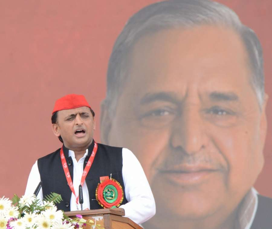 Lucknow: Samajwadi Party (SP) President Akhilesh Yadav adresses during the 8th state convention of the SP in Lucknow on Sept 23, 2017. (Photo: IANS) by .