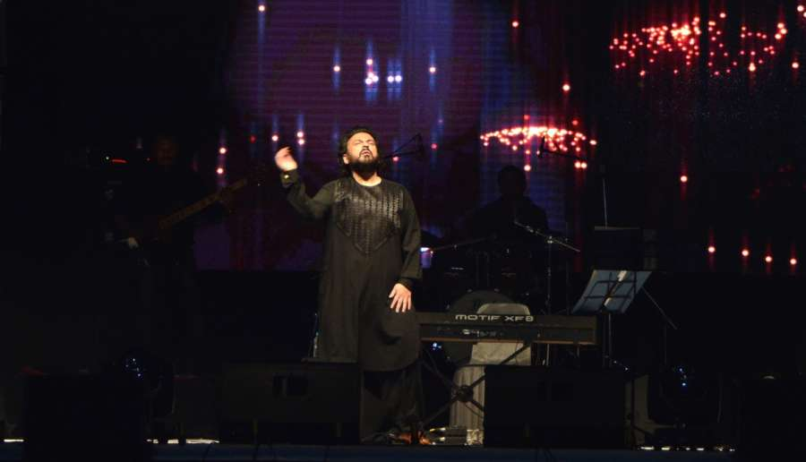 Srinagar: Singer Adnan Sami performs during a concert at Sher-i-Kashmir International Conference Centre (SKICC) in Srinagar, on Oct 7, 2017. (Photo: IANS) by .