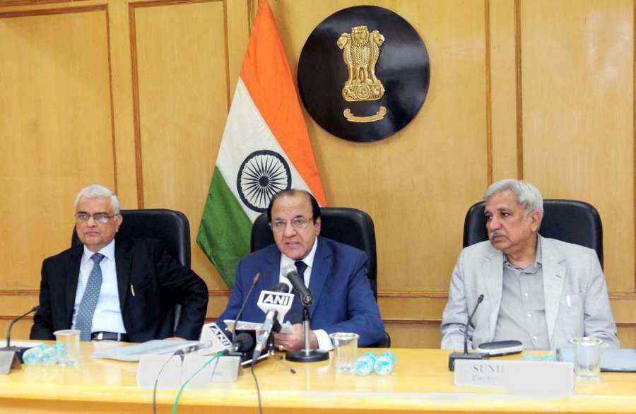 New Delhi: Chief Election Commissioner Achal Kumar Jyoti addresses a press conference to announce the schedule for Assembly Elections to Gujarat and Himachal Pradesh in New Delhi on Oct 12, 2017. Also seen Election Commissioners O.P. Rawat and Sunil Arora. (Photo: IANS/PIB) by .