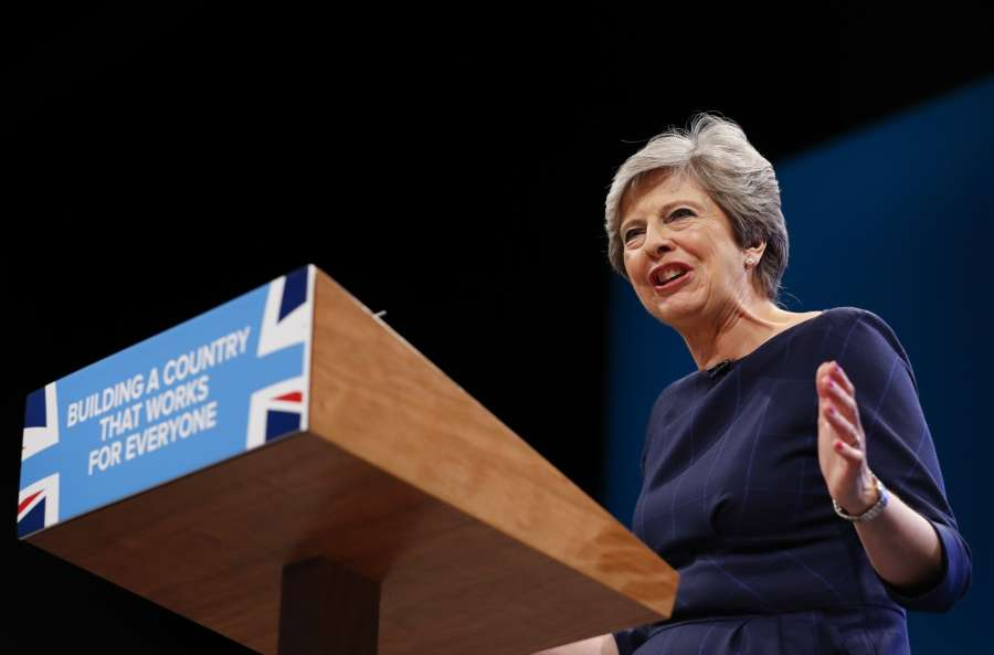 MANCHESTER, Oct. 4, 2017 (Xinhua) -- Britain's Prime Minister Theresa May delivers her keynote speech on the last day of the Conservative Party Annual Conference in Manchester, Britain on Oct. 4, 2017. (Xinhua/Han Yan/IANS) by .