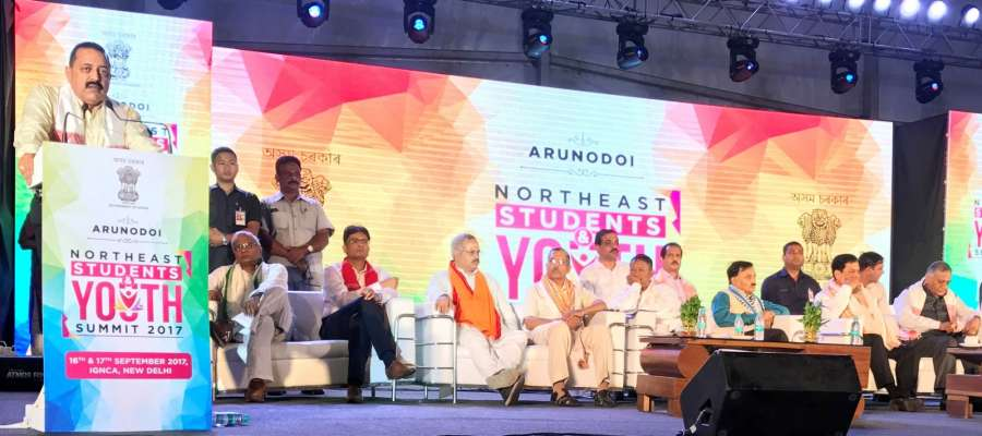 New Delhi: Union MoS Development of North Eastern Region (I/C) Jitendra Singh addresses at the inaugural session of the two-day Northeast Students and Youth Summit 2017 in New Delhi on Sept 16, 2017. Also seen Assam Chief Minister Sarbananda Sonowal, Union MoS External Affairs V.K. Singh and MPs from North East. (Photo: IANS/PIB) by .