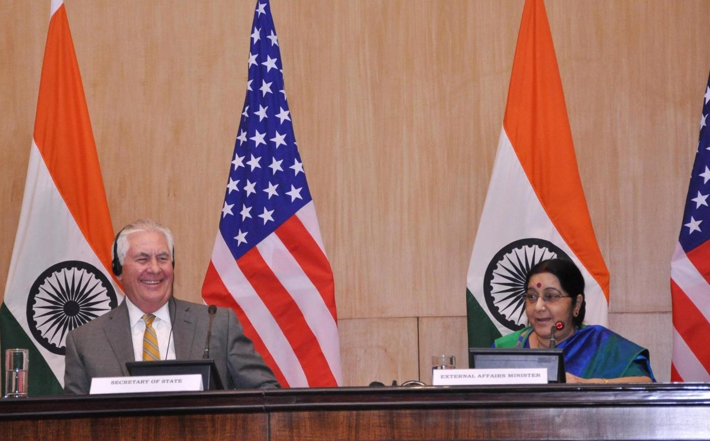 New Delhi: External Affairs Minister Sushma Swaraj and US Secretary of State Rex Tillerson during a joint press conference in New Delhi on Oct 25, 2017. (Photo: IANS) by .