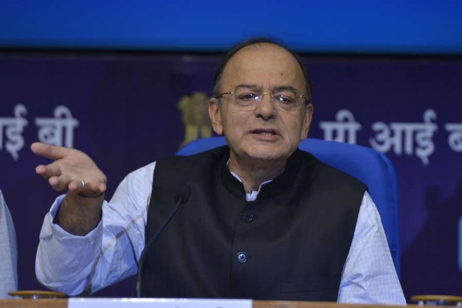 New Delhi: Union Finance Minister Arun Jaitley addresses a press conference in New Delhi, on Oct 24, 2017. (Photo: IANS) by .