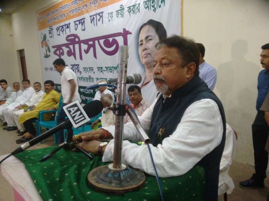 Barjala: Trinamool Congress leader Mukul Roy addresses during a party rally in Barjala constituency of West Tripura on Oct 23, 2016. (Photo: IANS) by .