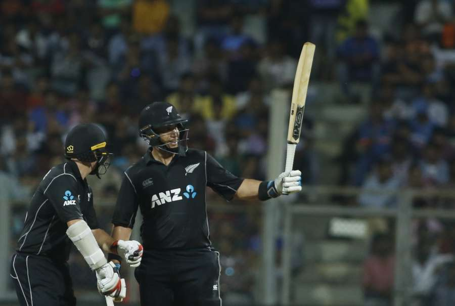 Mumbai: Ross Taylor of New Zealand celebrates his half century during the 1st ODI match between India and New Zealand at Wankhede Stadium in Mumbai on Oct 22, 2017. (Photo: Surjeet Yadav/IANS) by .