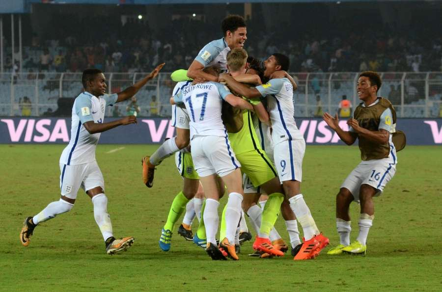 Kolkata: English players celebrate after winning the a Round of 16 match of FIFA U-17 World Cup 2017 between England and Japan at Salt Lake Stadium in Kolkata on Oct 17, 2017. (Photo: Kuntal Chakrabarty/IANS) by .