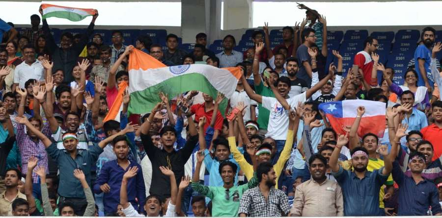 Kolkata: Fans during a FIFA U-17 World Cup Group F match between England and Chile at Salt Lake Stadium in Kolkata, on Oct 8, 2017. (Photo: Kuntal Chakrabarty/IANS) by .
