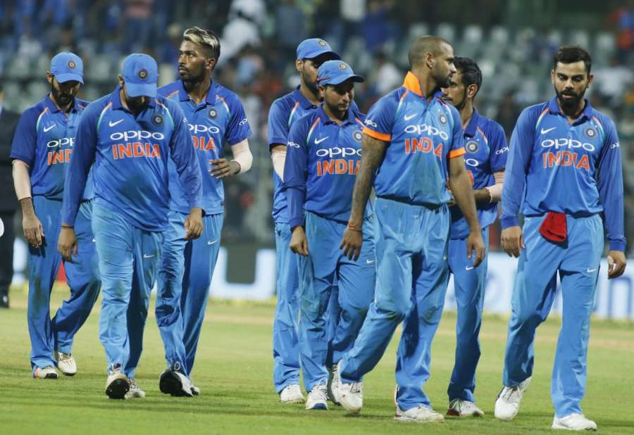 Mumbai: Team India after the 1st ODI match between India and New Zealand at Wankhede Stadium in Mumbai on Oct 22, 2017. New Zealand won by six wickets with six balls remaining. (Photo: Surjeet Yadav/IANS) by .