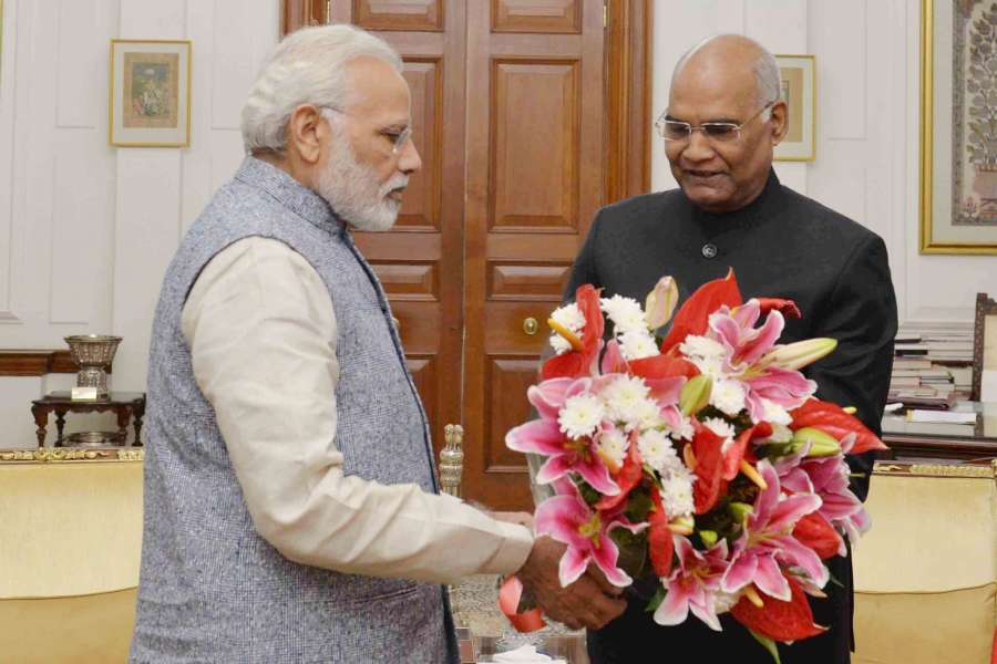 New Delhi: Prime Minister Narendra Modi calls on President Ram Nath Kovind to greet him on his birthday at Rashtrapati Bhavan on Oct 1, 2017. (Photo: IANS/RB) by .