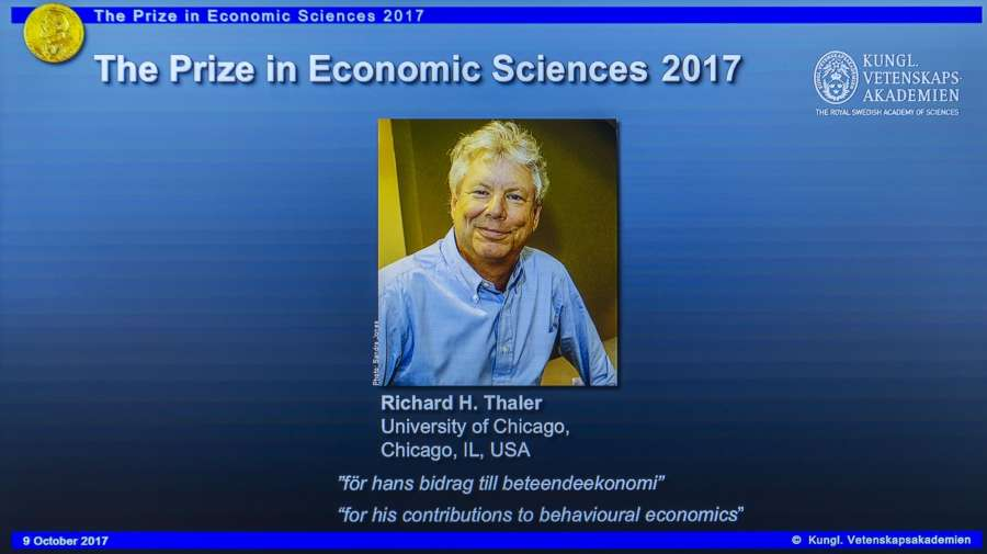 """STOCKHOLM, Oct. 9, 2017 (Xinhua) -- Photo of Richard H. Thaler is displayed on the screen during the press conference to announce the winner of the 2017 Nobel Prize in Economics in Stockholm, Sweden, on Oct. 9, 2017. The 2017 Nobel Prize in Economics, or officially the Sveriges Riksbank Prize in Economic Sciences in Memory of Alfred Nobel, was awarded to Richard H. Thaler """"for his contributions to behavioural economics,"""" announced the Royal Swedish Academy of Sciences here on Monday. (Xinhua/Shi Tiansheng/IANS) by ."""