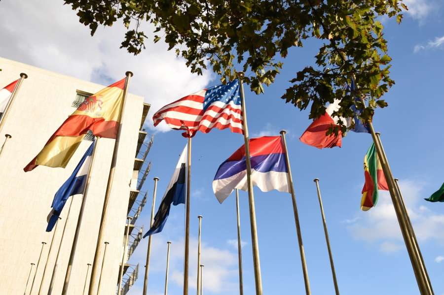 PARIS, Oct. 12, 2017 (Xinhua) -- Photo taken on Oct. 12, 2017 shows flags outside the United Nations Educational, Scientific and Cultural Organization (UNESCO) headquarters in Paris, France. The United States on Thursday informed the UNESCO that it would formally withdraw from the organization on Dec. 31, 2018. (Xinhua/Chen Yichen/IANS) by .