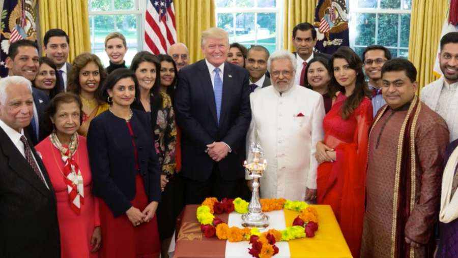 Washington: A screen grab from a video shared by US President Donald Trump on Facebook where he is seen celebrating Diwali in the Oval Office of White House on Oct 17, 2017. (Photo: Facebook/@DonaldTrump) by .