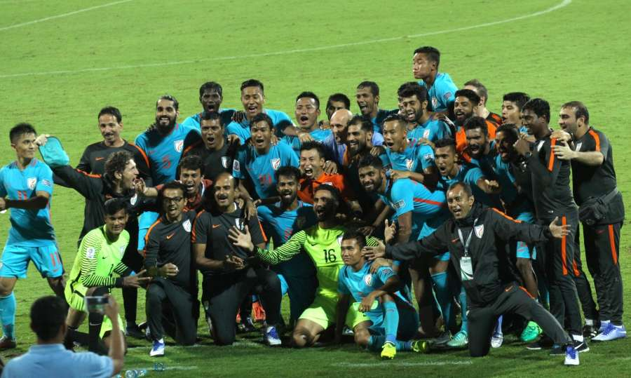 Bengaluru: Indian team celebrate winning 2019 AFC Asian Cup qualifier match against Macau at Kanteerava Stadium in Bengaluru, on Oct 11, 2017. (Photo: IANS) by .