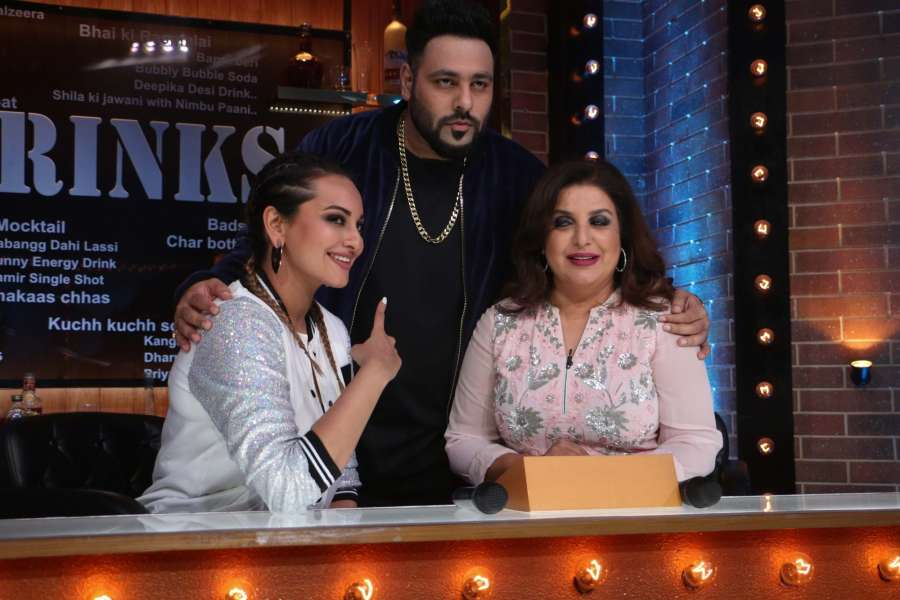 "Mumbai: Actress Sonakshi Sinha, Rapper Badshah and Director Farah Khan during the Star Plus show ""Lip Sing Battle"" in Mumbai on Oct 2, 2017.(Photo: IANS) by ."