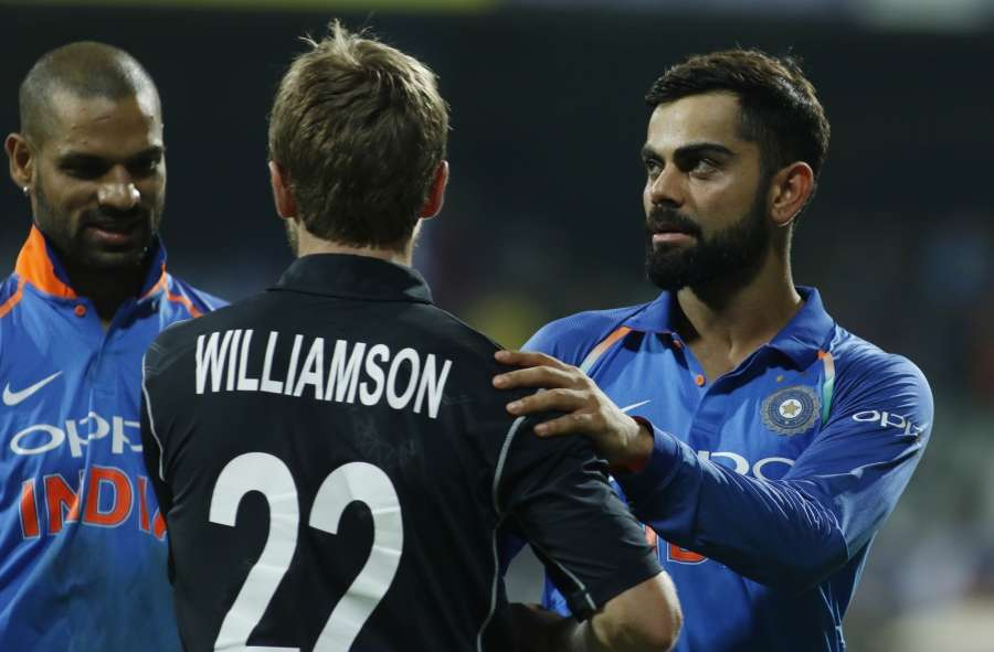 Mumbai: New Zealand captain Kane Williamson and Indian captain Virat Kohli after the 1st ODI match between India and New Zealand at Wankhede Stadium in Mumbai on Oct 22, 2017. New Zealand won by six wickets with six balls remaining. (Photo: Surjeet Yadav/IANS) by .
