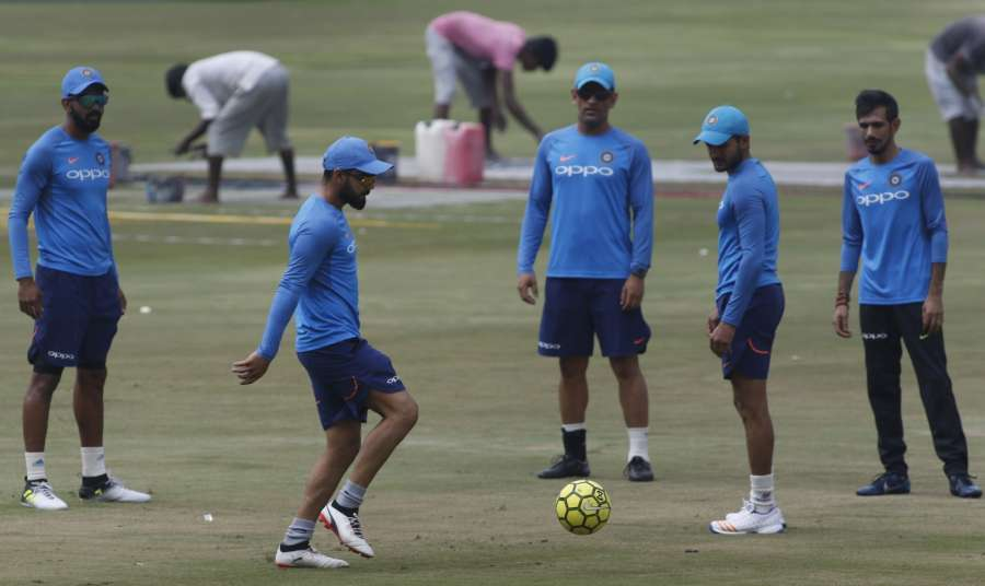 Hyderabad: Indian players during a practice session ahead of the 3rd T20 match against Australia at the Rajiv Gandhi International Cricket Stadium in Hyderabad on Oct 12, 2017. (Photo: Surjeet Yadav/IANS) by .