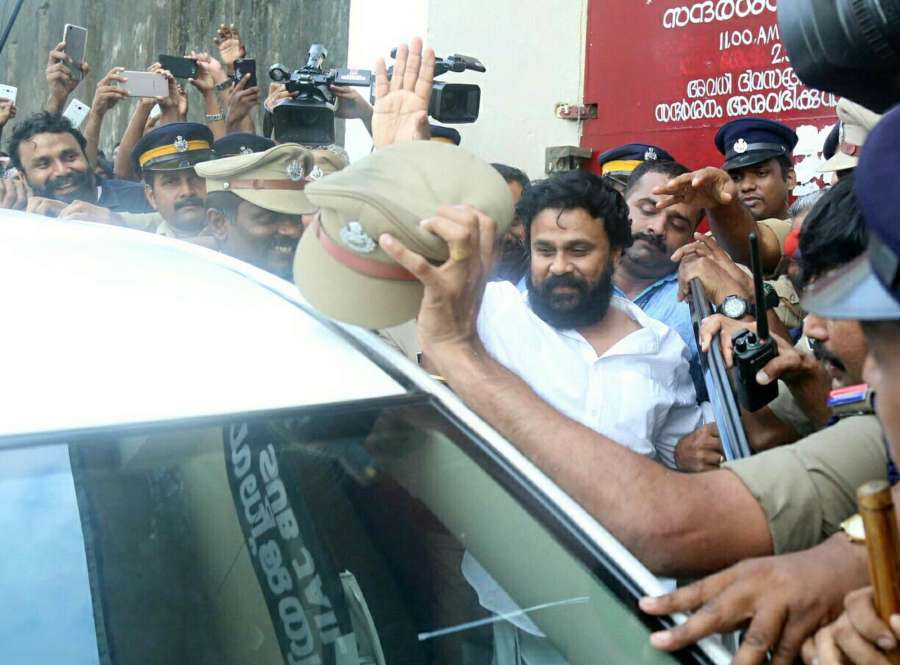 Aluva: Malayali actor Dileep, arrested for alleged involvement in the kidnapping of an actress, comes out of Aluva sub-jail after being granted bail by the Kerala High Court on Oct 3, 2017. The actor left Aluva sub-jail to loud cheers from hundreds of his fans. (Photo: IANS) by .