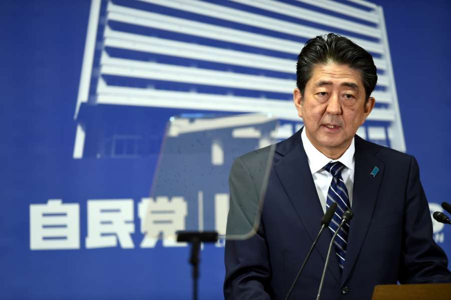 "TOKYO, Oct. 23, 2017 (Xinhua) -- Shinzo Abe, President of the Liberal Democratic Party (LDP), attends a press conference in Tokyo, Japan, on Oct. 23, 2017. Japan's ruling camp grouped by Prime Minister Shinzo Abe's LDP and its junior partner, the Komeito Party, has won a two-thirds ""supermajority"" in Sunday's lower house election. (Xinhua/Ma Ping/IANS) by ."
