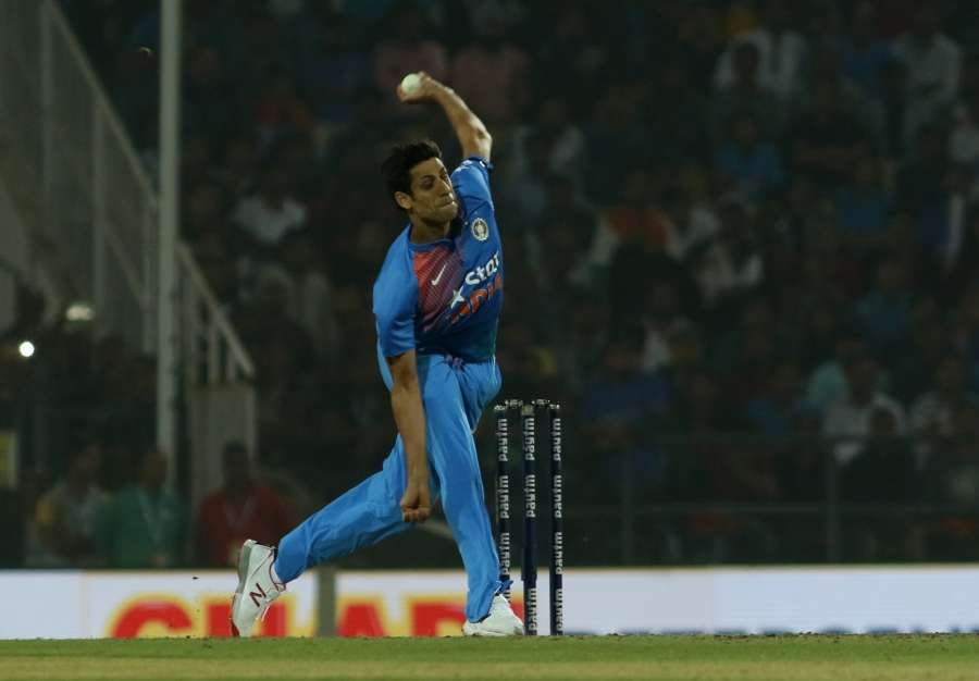 Nagpur: Ashish Nehra of India in action during the second T20 match between India and England at Vidarbha Cricket Association Stadium in Nagpur, on Jan 29, 2017. (Photo: Surjeet Yadav/IANS) by .